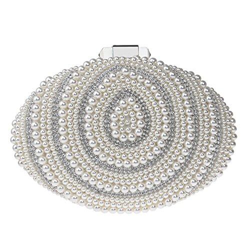 Borsa Perle Portafoglio White Bianco Sacchetto Da Pochette Cerimonia Donna Eleganti Festa Frizioni Borsetta Sera qqU4a