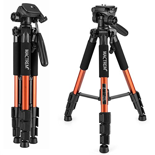 Mactrem PT55 Travel Camera Tripod Lightweight Aluminum for DSLR SLR Canon Nikon Sony Olympus DV with Carry Bag -11 lbs(5kg) Load ( Orange)