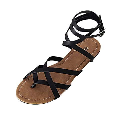 c8624c4c164aa Amazon.com: Copercn Women's Ladies Roman Gladiator Strappy Flat ...