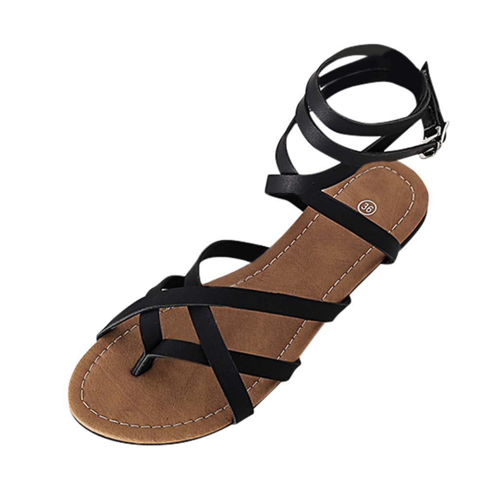 Women's Ankle Strap Lace Up Sandals Clearance Sale, NDGDA Ladies Flats Breathable Shoes Open Toe Buckle Female Roman Sandals