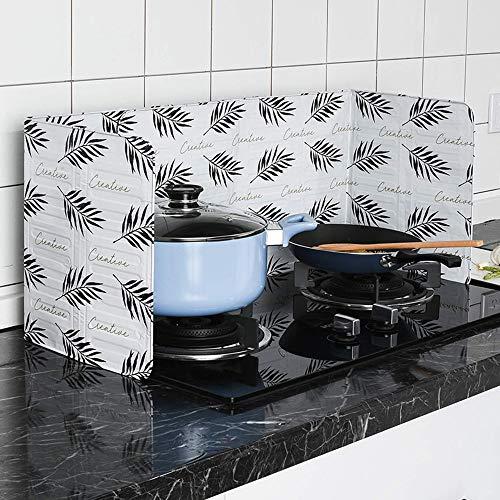 Gotian Aluminum Foil Kitchen Oil Splash Guard, Stove Plate Prevent Oil Splash Cooking Hot Baffle Kitchen Tool (White)]()