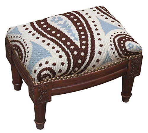 Needlepoint Paisley Brown (SketchONE Wool Needlepoint Upholstered Footrest, Paisley, Blue/Brown)