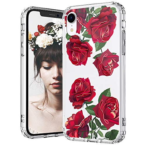 MOSNOVO iPhone XR Case, Clear iPhone XR Case, Red Roses Floral Flower Pattern Clear Design Transparent Plastic Hard Back Case with Soft TPU Bumper Protective Case Cover for Apple iPhone XR