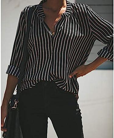 CHZDNSCS Camisa Las Mujeres Rayas Blancas Negras Blusa De ...