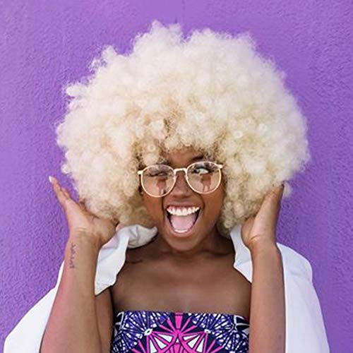 AIS HAIR Afro Curly Wig Short Kinkys Curly Hair Wig Blonde Color Short Curly Wig African American Wigs Curly Afro Wig for Black -
