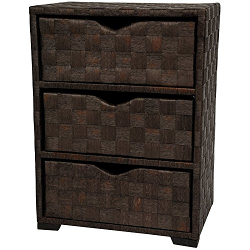 Oriental Furniture Natural Fiber Chest of Drawers - Three Drawer - Mocha