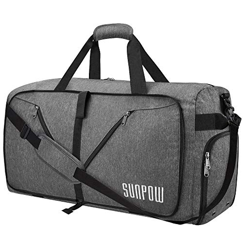 SUNPOW 65L Travel Duffel Bag, Weekender Bag With Shoes Compartment Tear Resistant Foldable Duffle Bag For Men Women Dark Grey