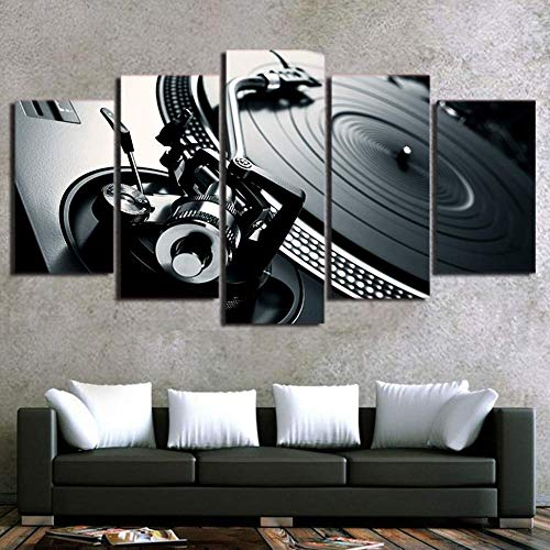 Kljdfks 5 Piece Canvas Prints Painting ON Canvas Home Decor Print HD Ballroom Bar Poster DJ Musical Instrument Record Player Pictures Canvas Wall Art,A,20×35×2+20×45×2+20×55×1