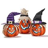 Prextex Set of Three Happy Halloween Light Up Jacko Lantern Decorative Pumpkin Foam Halloween Props for Great Haunted House Halloween Decoration
