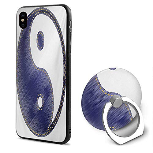 Ying Yang iPhone x Cases,Asian Spiritual Yin Yang Figure Textured in Jean Style Harmony and Balance Pair White Blue,Mobile Phone Shell Ring - Figure Yin