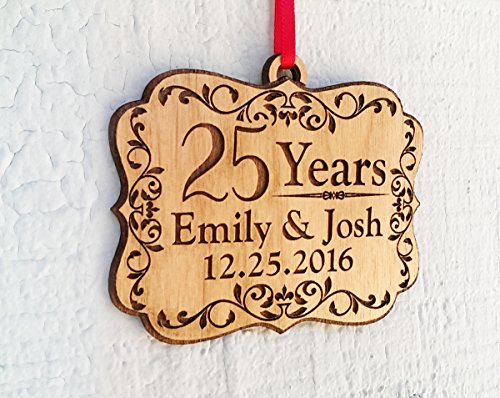 Personalized Anniversary Wood Ornament 25, 50, 60, 70 Years Togetherness of Marriage, Engagement 1 Year Married, Husband Wife, Couples Christmas Gift by Custom-Engraved-Glasses-by-StockingFactory (Image #1)