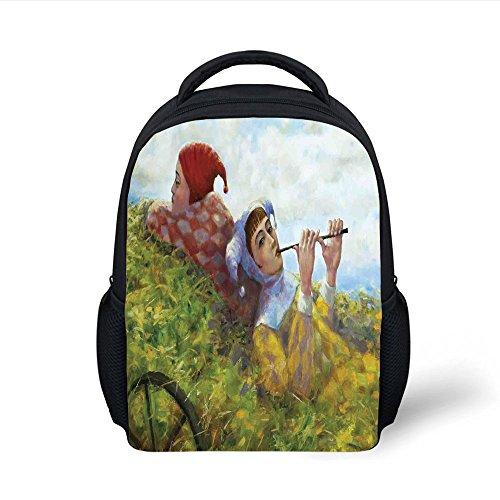(iPrint Kids School Backpack Country Decor,Children Girls Enjoying the Nature on Old Cart at the Country Nature Painting Pastoral Theme,Multi Plain Bookbag Travel Daypack)