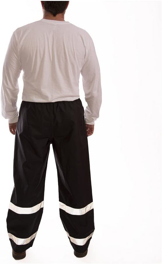 ICON P24123.LG 12mm Polyurethane//Polyester Snap Fly Front Thick Pants with 2 Silver Reflective Tape Large Black Hook /& Loop Take-Up Straps