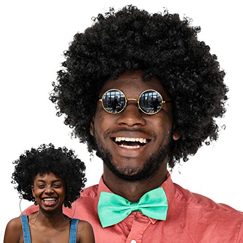 WILLBOND  2 Pieces Jumbo Afro Wig Mega-Huge Men's Afro Wig Giant Afro Wig Costume Accessories for Halloween Men's Afro Chops Wig 80s 90s Theme Party ()