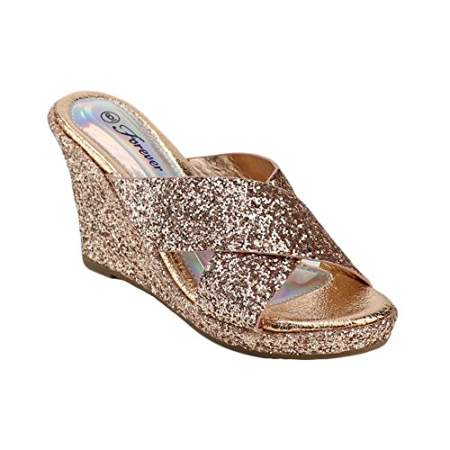 FOREVER FQ53 Women's Glitter Strappy Slide Wrapped Wedge Heel Platform Sandals, Color Rose Gold, (Faux Leather Strappy Heel Wedge)