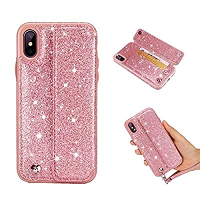 iPhone Shiny Wallet Cover,Aulzaju iPhone Bling Case Luxury Synthetic Fashion Beauty Soft Credit Card Kickstand Case for iPhone with Leather Strip