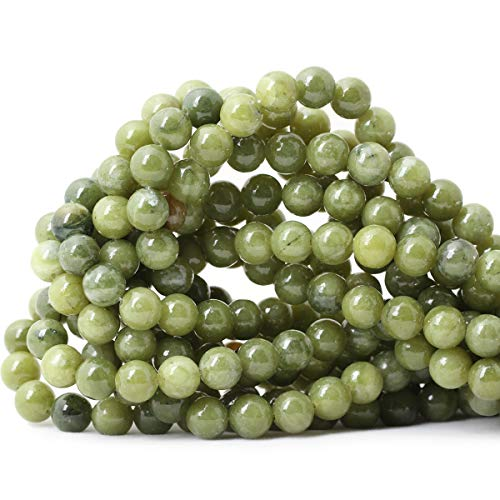 Qiwan 45PCS 8mm Natural Color Taiwan Green Jade Green Stone Round Loose Beads for DIY Jewelry Making