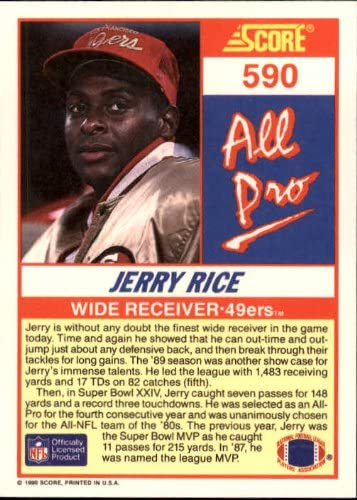 1990 Score Football Card #590 Jerry Rice