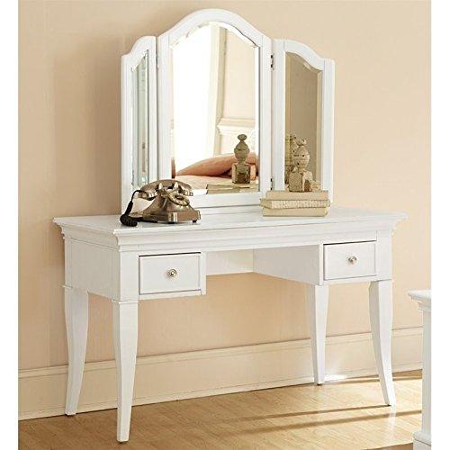 NE Kids Walnut Street Desk with Vanity Storage Mirror, White by NE Kids