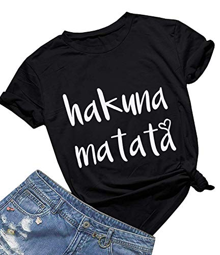 Women's Hakuna Matata T-Shirt Cute Letter Print Short Sleeve Tee Top Funny Graphic T-Shirt (XXL, Black01)