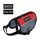"Pretty Pets PRETTYPETS Lightweight Service Dog Vest Cool Red Mesh Harness with 2 Free Removable Service Dog and 2 ""Emotional Support"" Patches (S;Girth:15-16'')"