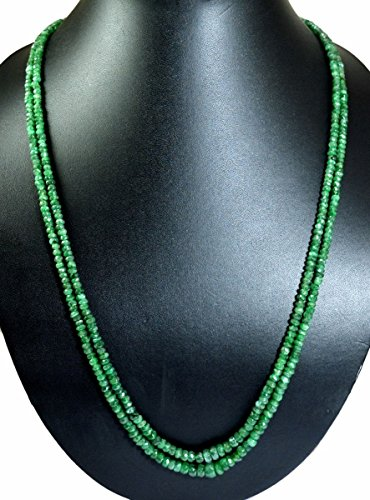 Natural 2/3/4/5/6 Multi Strands Green Emerald 4mm Size Faceted Beads Necklace Gemstone (Green-2 Strands) (Green Emerald Faceted Bead Necklace)