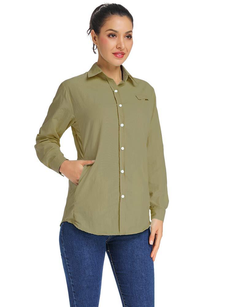 Women's PFG Long Sleeve Shirt, UV Sun Protection, Moisture Wicking Fabric F5024,Khaki,M by Toomett