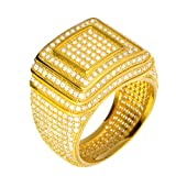 Hip Hop Iced Out Men Luxury Fashion Rock Golden All Around CZ Band Double Square Style Pinky Ring/G15642 (9)