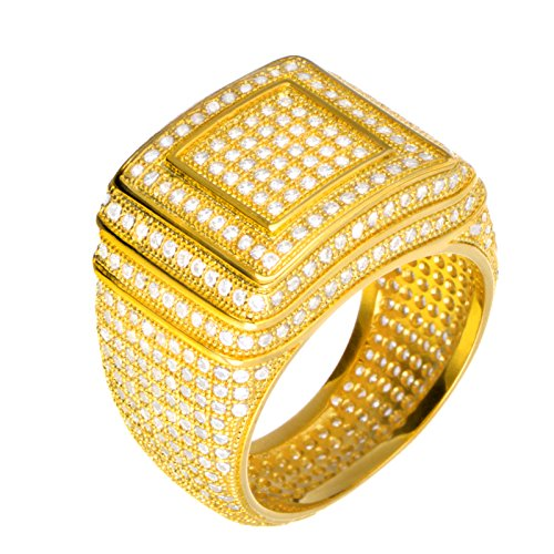 Hip Hop Iced Out Men Luxury Fashion Rock Golden All Around CZ Band Double Square Style Pinky Ring / G15642 (11) (Mens Golden Iced Out Rings)