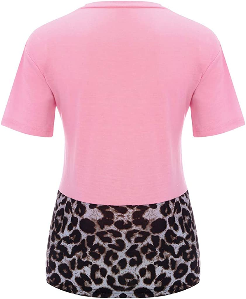 Oliviavan Womens Leopard Patchwork T-Shirt Round Neck Shirt Short Sleeve Loose Top
