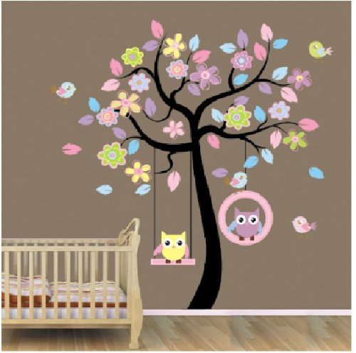 Bedroom wall stickers wall stickers factory Blansdi blue pink owl tree swing trade children Firststop®