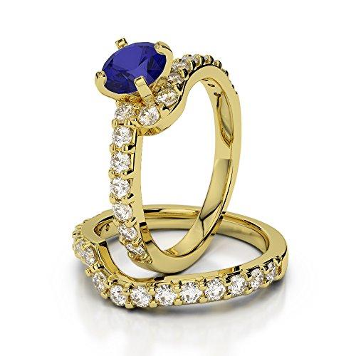 Or jaune 18carats 1CT G-H/VS sertie de diamants ronds Cut Saphir et mariée Bague de fiançailles et ensemble de Agdr-2003