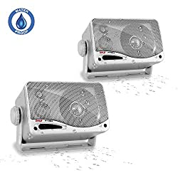 3 Way Weatherproof Outdoor Speaker Set 3 5 Inch 200w Pair Of Marine Grade Mount Speakers Heavy Duty Abs Enclosure Grill Home Boat Poolside Patio Indoor Outdoor Use Pyle Plmr24s Silver