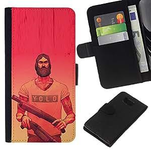 All Phone Most Case / Oferta Especial Cáscara Funda de cuero Monedero Cubierta de proteccion Caso / Wallet Case for Samsung ALPHA G850 // Yolo Pink Guns Red Yellow Beard Guns