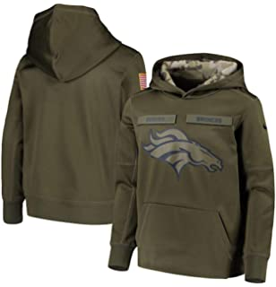 best sneakers 9e886 d8f20 NIKE Youth Denver Broncos Green Salute to Service Pullover Performance  Hoodie (Medium 10-12