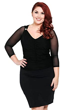 7893a72ba3faae Sleevey Wonders Women s Black Mesh Reversible slip-on 3 4 sleeves at Amazon  Women s Clothing store