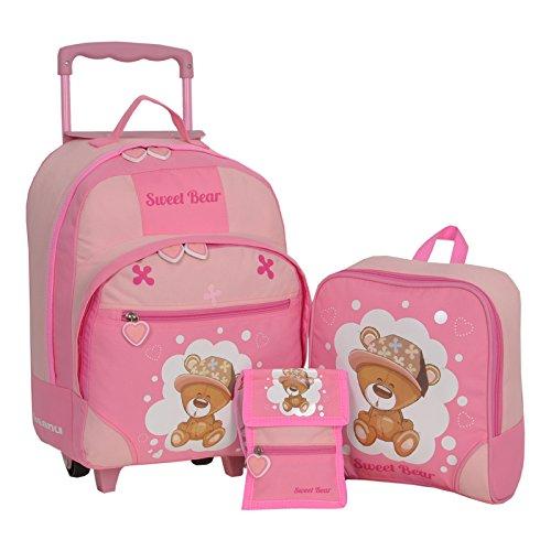Keanu Kindertrolley 3er SET Sweet Bear Bärchen Bär Pink Reisegepäck stabil, höhenverstellbarem Griff, Reißverschlussfach, Reisekoffer Rucksack Brustbeutel