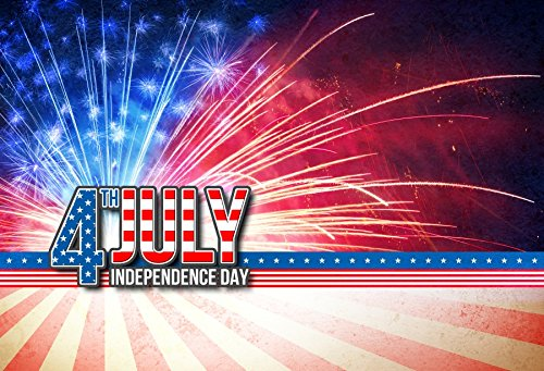 OFILA 4th of July Backdrop 7x5ft USA Independence Day Backkground American Flag Fireworks National Day Patriotic Parade Banners Memorial Day Backdrop Holidays Greeting Party Decoration Shoots Props