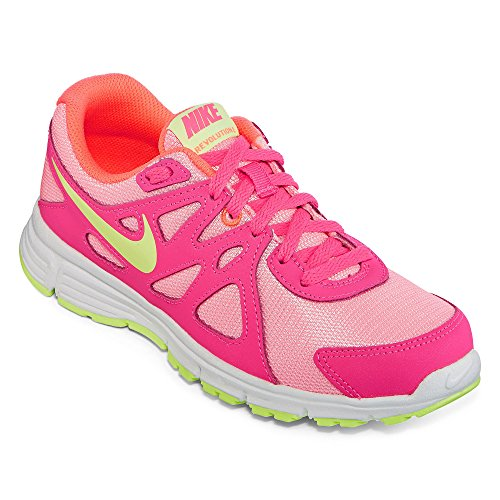 Nike Revolution 2 (GS) Running Trainers 555090 Sneakers Shoes (4.5 Big Kid M, white liquid lime pink power 100) by NIKE