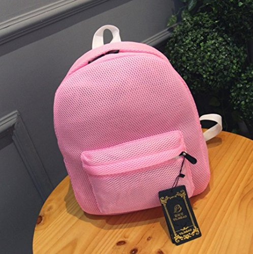 Malloom Moda verano mujeres chicas Net hilados red mochila bolso (morado) rosa