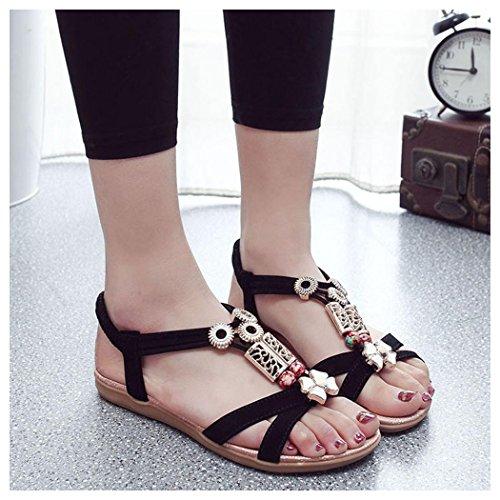 Sommar Sandaler, Inkach Mode Kvinnor Böhmen Sandaler Läder Platta Skor Svarta