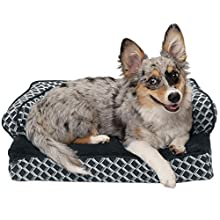 FurHaven Pet Dog Bed | Cooling Gel Memory Foam Orthopedic Plush & Decor Comfy Couch Pet Bed for Dogs & Cats, Diamond Gray, Small