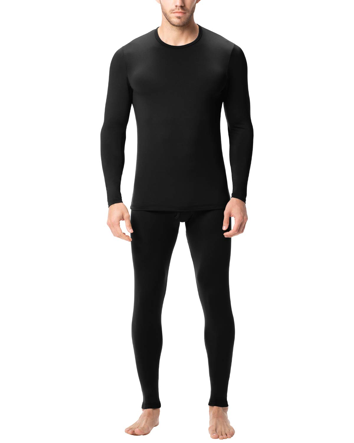 LAPASA Men's Lightweight Thermal Underwear Long John Set Fleece Lined Base Layer Top and Bottom (X-Large, Black) by LAPASA