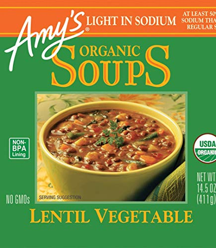 - Amy's Organic Lentil Vegetable Soup, Light in Sodium, 14.5-Ounce