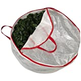 Household Essentials 30-Inch Circular Wreath Storage Bag with Red Trim