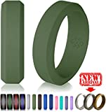 Knot Theory Silicone Wedding Ringx2605;8mm Band for Superior Comfort, Style, and Safety (Army Green, Size 11)