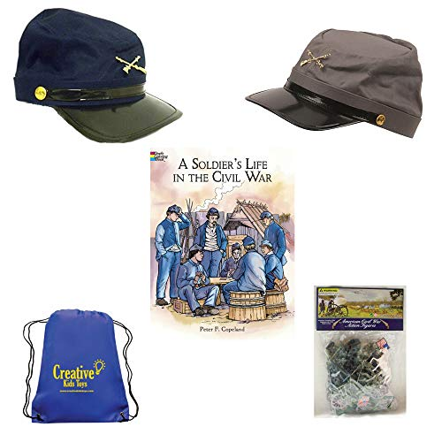 Civil War Soldier Play Set with Blue and Gray Civil War Kids Hats, Plastic Civil War Army Men, Civil War Soldier Coloring Book and Civil War Fact Sheet Pretend Play History Set]()