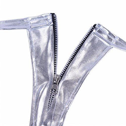 YIZYIF Tangas Mujer de Charol Bikini Ropa Interior Culo Abierto para Mujeres Plateado