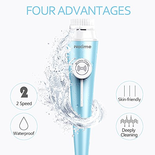 Viala Facial Cleansing Brush and Massager, Waterproof Face Brush with 3 Brush Heads for Deep Cleansing, Gentle Exfoliating and Removing Blackhead