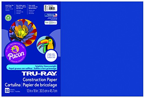 Pacon Tru-Ray Construction Paper, 12-Inches by 18-Inches, 50-Count, Royal Blue (103049) (Mailers Pacon)